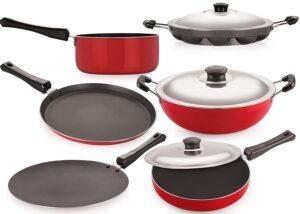 2.Nirlon Non-Stick Cookware Set, 6-Pieces